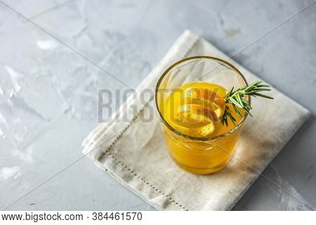 Glass Of Honey Bourbon Cocktail With Rosemary Simple Syrup Or Homemade Whiskey Sour Cocktail Drink W