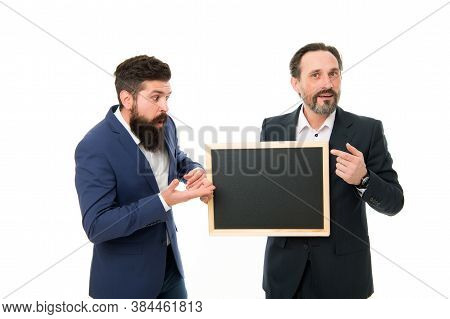 Omg. Businessmen Got Shocking Information. School Teachers Hold Blackboard. Private Teaching. Teachi