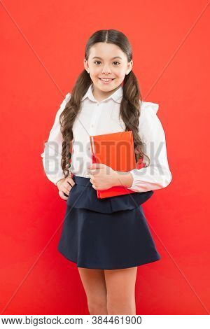 Back To School. Knowledge Day. Possible Everything. Schoolgirl Enjoy Study. Kid School Uniform Hold
