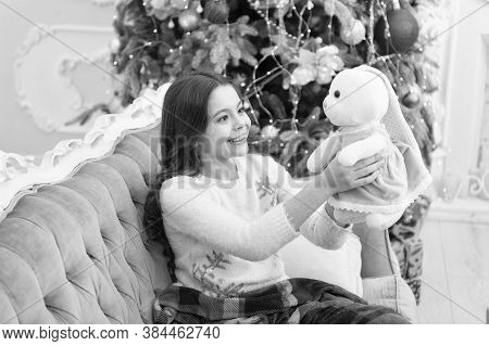 Magical Atmosphere. Winter Wonderland. Best Time Of The Year. Adorable Girl Play With Toy In Christm