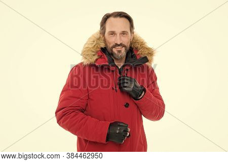 Perfect For Frosty Winter Days. Fashionable Man In Cold Weather Style. Man Enjoying Warmth And Comfo