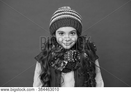 Looking Cute In Winter. Little Girl Red Background. Small Child In Winter Fashion Style. Winter Ward
