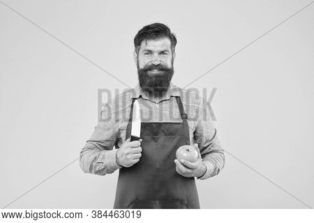 Ultimate List Of Cutting Techniques Every Chef Should Know. Chef Prepares Meal. Bearded Man Prepare