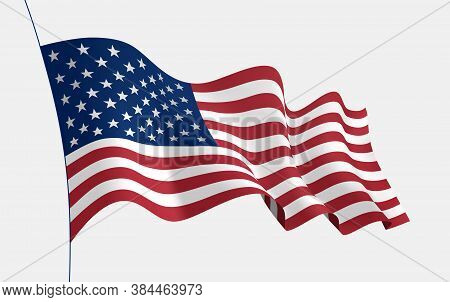 Usa Flag Waving In The Wind. 3d Vector Flag With Folds. Vector Object For Illustrating Posters, Flye