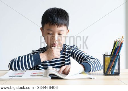 Asian Boy Who Are Studying In Elementary School Reading And Doing Homework By Himself At Home.