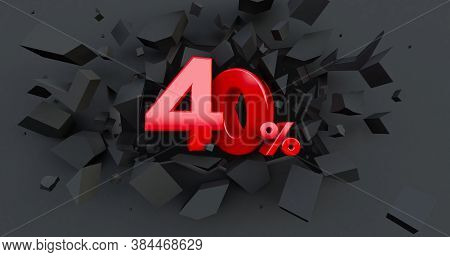 Abstract Explosion Background. 40 Forty Percent Sale. Black Friday Idea. Up To 40%. 3d Render