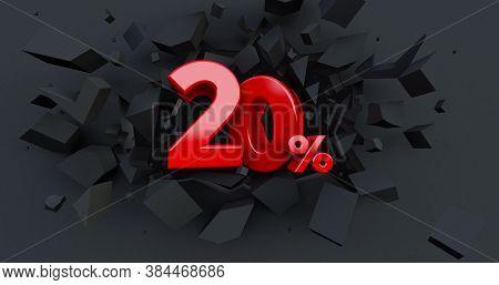Abstract Explosion Background. 20 Twenty Percent Sale. Black Friday Idea. Up To 20%. Broken Black Wa