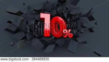 Abstract Explosion Background. 10 Ten Percent Sale. Black Friday Idea. Up To 10%. Broken Black Wall