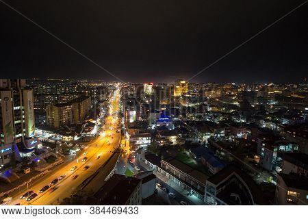 Prishtina, Kosovo - November 11, 2016: Night View Of The Bill Clinton Boulevard And George W Bush Bo