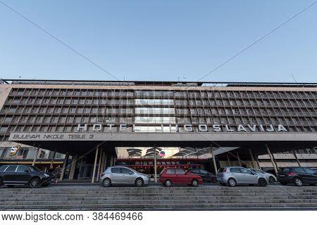 Belgrade, Serbia - November 20, 2016: Main Facade Of Hotel Jugoslavia, In Novi Beograd District, A D