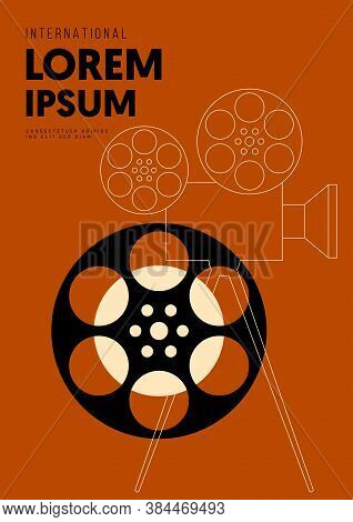 Movie And Film Poster Design Template Background With Outline Vintage Film Camera. Design Element Ca