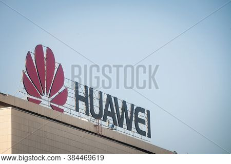 Belgrade, Serbia - August 13, 2018: Huawei Logo On Their Office For Serbia In Belgrade. Huawei Techn