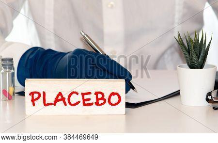 Placebo - Word Abstract In Vintage Letterpress Wood Type Blocks.