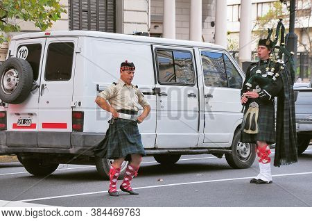 Buenos Aires, Argentina - April 14, 2013: Wearing Traditional Clothing, Performing Traditional Scott