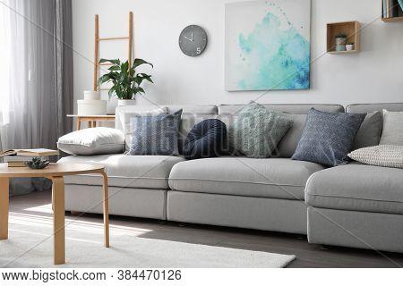 Elegant Living Room With Comfortable Sofa. Interior Design