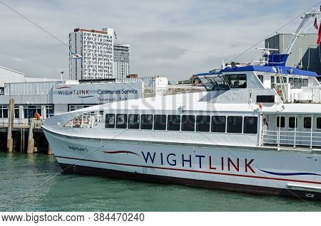 Portsmouth, Uk - September 8, 2020: One Of The Wightlink Passenger Catamaran Ferries Docked At The P