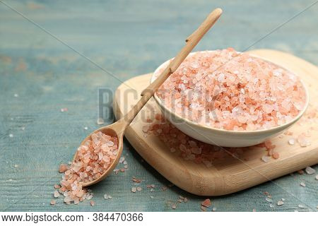 Pink Himalayan Salt On Light Blue Wooden Table, Closeup