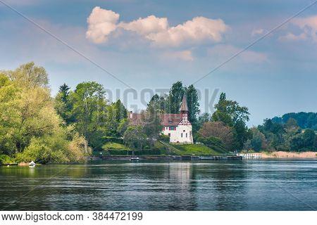 Natural Scenery And Swiss Church Culture At Stein Am Rhein City, Switzerland. Beautiful Nature Water