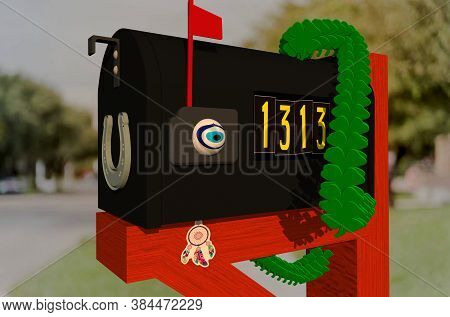 3d Illustration Of A Mailbox With An Unlucky Address Made Lucky With Good Luck Charms