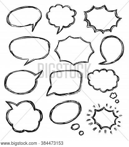 Talk Bubble Sketch. Retro Empty Dialog Box, Chat Cloud And Balloon Icon Set. Think And Talk Speech B