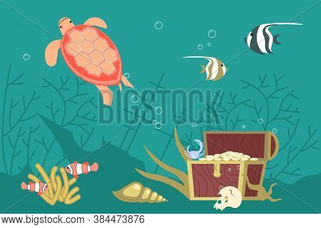 Underwater Scene With Wreck, Chest Of Gold And Corrals On Aquamarine Background. Undersea Fauna Of T