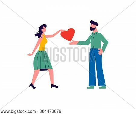 Girl Giving Her Heart, Man Taking Heart As A Sign Of Connection And Unity. Woman Sharing Love, Suppo