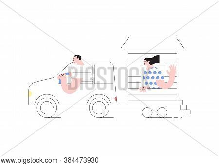 Young Married Couple Traveling By Car With Their Movable Tiny House. People In Inexpensive Vacation