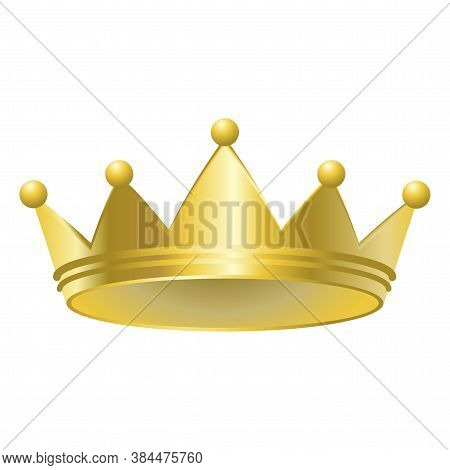 Gold Crown. Royal Headdress. Hat For The Queen. Monarchy Symbol. Imperial Diadem. Vector Illustratio