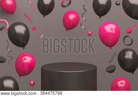 Black Friday Podium Decoration With Flying Pink Balloon Product Display Mock Up On Studio Lighting B