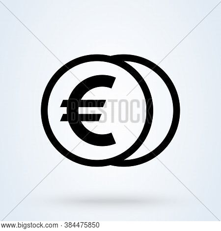 Money Or Euro, Payment Sign Icon Or Logo. Coin With Eur Currency Concept. Cash And Money Vector Illu