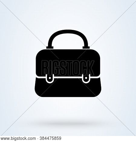 Women Handbag Or Bag Icon Or Logo. Fashion Handbag Concept. Shopping Bag Vector Illustration.