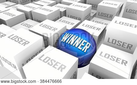Winners and Losers Success or Failure Best Worst Performers Opposites 3d Illustration