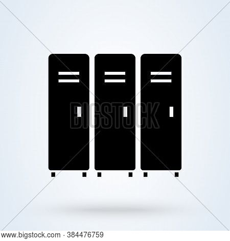 School Lockers Or Shop Lockers Icon Or Logo. Locker Concept. There Are Several Lockers Vector Illust