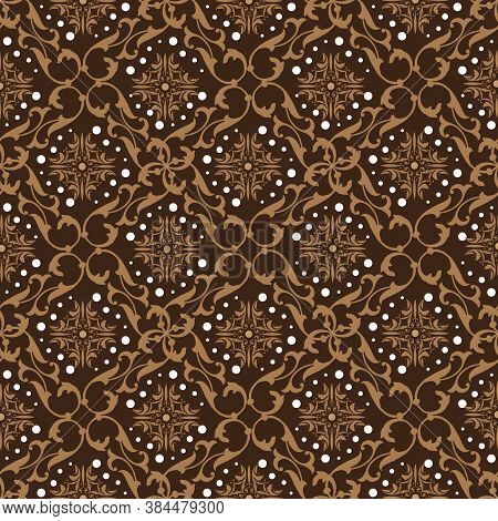 Beautiful Flower Motifs On Solo Batik With Smooth Dark Brown Color Design.
