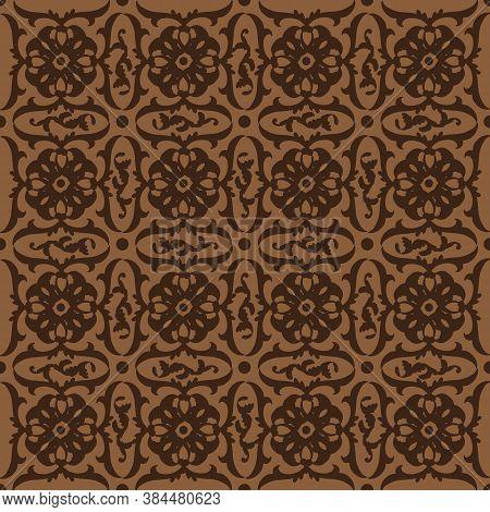 Cute Flower Motifs On Parang Batik Design With Dark Brown Color Design.
