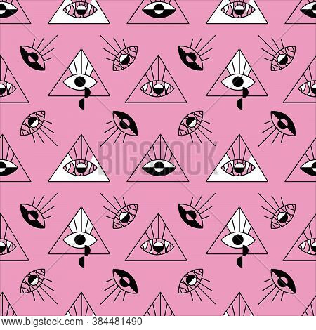Psychedelic Seamless Pattern. Triangles With Eyes. Magic Geometry For Fabric, Paper, And Background.