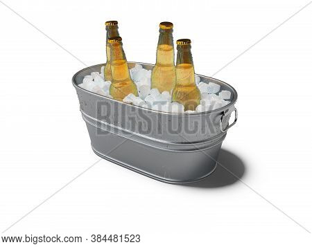 3d Rendering Concept Of Chilled Soda In Ice Bucket On White Background With Shadow