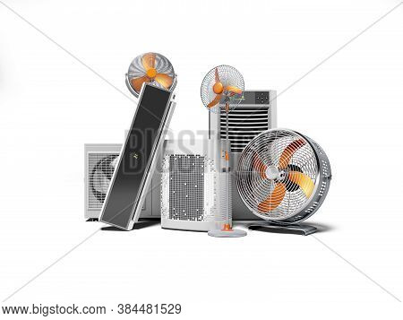 3d Rendering Concept Orange Fans Air Conditioners And Portable Air Conditioners White Background Wit