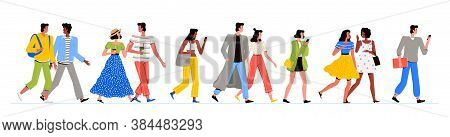 People Of Different Nationalities In Fashionable Clothes Are Walking. Men And Women Walk, Chat And L