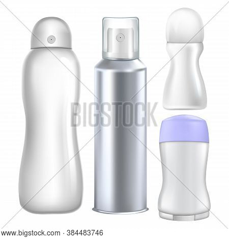 Deodorant Hygienic Product Collection Set Vector. Deodorant Sprayer And Roll-on Cosmetic Blank Packa