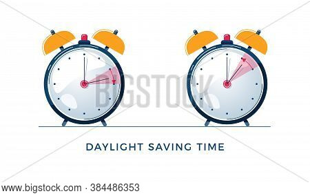 Daylight Saving Time Concept. Set Of Alarm Clocks With Text. The Hand Of The Clocks Turning To Winte