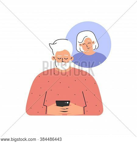 Vector Isolated Flat Concept. Cartoon Characters. Caucasian Elderly Man Sends Sms On Phone To His Se