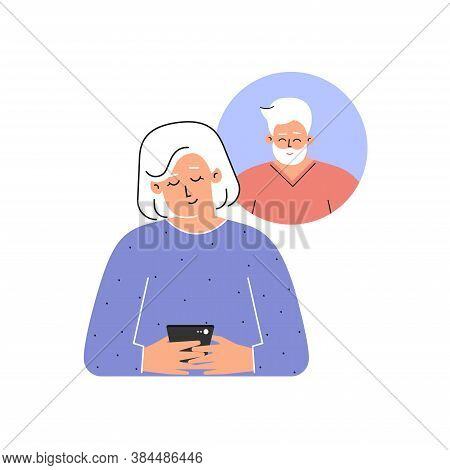 Vector Isolated Concept. Flat Cartoon Style. Happy Elderly Caucasian Woman Is Texting On Phone With