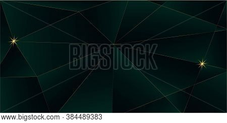 Emerald Luxury Gold Background. Royal Premium Business Design 3d Abstract Polygonal Shiny Cover. Gol