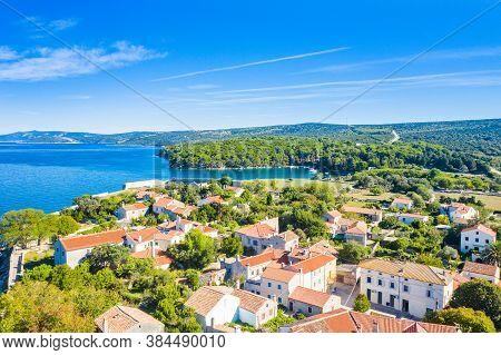 Panoramic View Of Touristic Town Of Osor Between Islands Cres And Losinj, Croatia