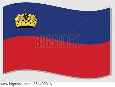 Waving Flag Of Liechtenstein Vector Graphic. Waving Liechtensteiner Flag Illustration. Liechtenstein