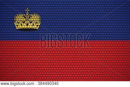 Abstract Flag Of Liechtenstein Made Of Circles. Liechtensteiner Flag Designed With Colored Dots Givi