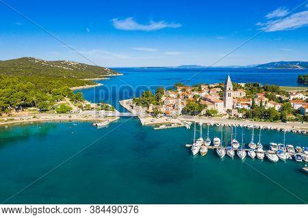 Beautiful Old Historic Town Of Osor, Marina And Bridge Connecting Islands Cres And Losinj, Croatia,