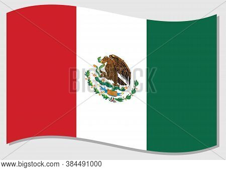 Waving Flag Of Mexico Vector Graphic. Waving Mexican Flag Illustration. Mexico Country Flag Wavin In