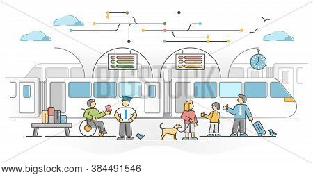 Railway Network As Train Transport With Passengers Station Outline Concept. Urban Crowded Platform I